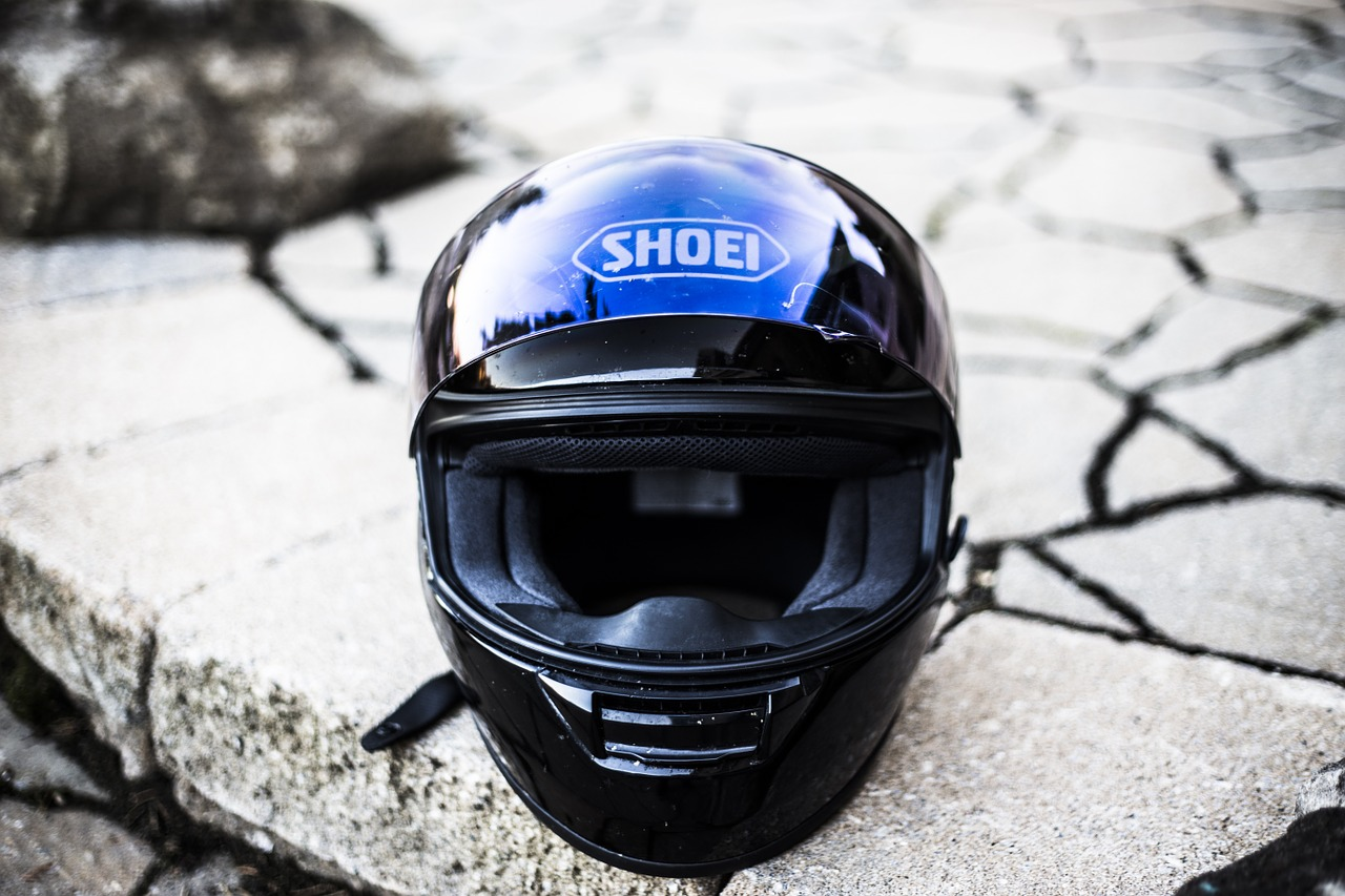 casco integrale blu